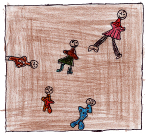 dessin d'enfant sur la pièce Seu(i)l xy